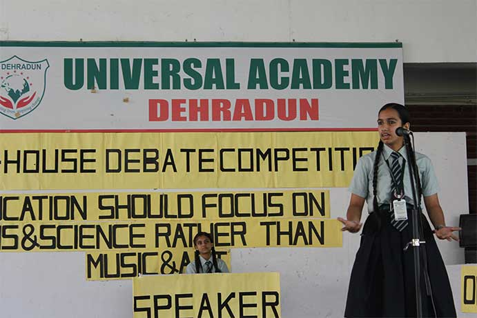 Debate competition at Universal Academy Dehradun